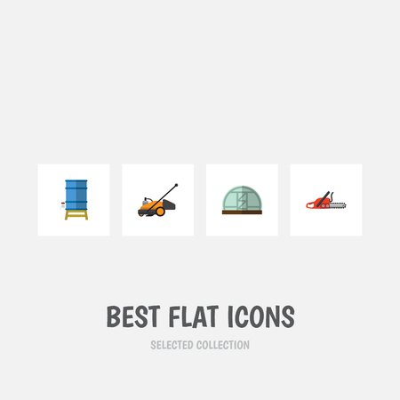 Flat Icon Garden Set Of Container, Lawn Mower, Hacksaw And Other Vector Objects. Also Includes Saw, Greenhouse, Farm Elements. Illustration