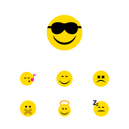 Flat Icon Gesture Set Of Descant, Cross-Eyed Face, Smile And Other Vector Objects. Also Includes Emoji, Sing, Song Elements.