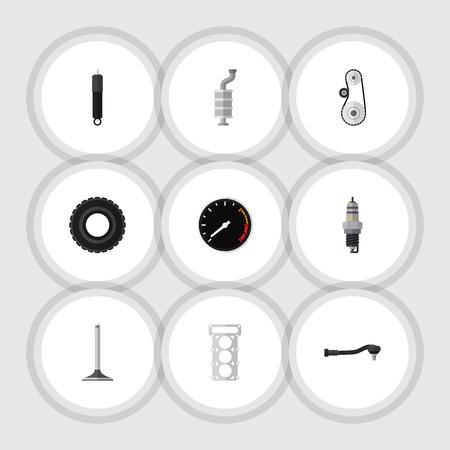Platte pictogram Component Set reserveonderdelen, Tachometr, verbranding en andere Vectorobjecten. Bevat ook Combustion, Drive, Engine Elements.