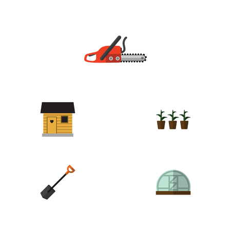 Flat Icon Garden Set Of Spade, Flowerpot, Stabling And Other Vector Objects. Also Includes Stabling, Spade, Shovel Elements. Illustration
