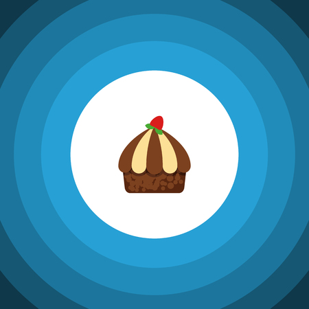 Isolated Muffin Flat Icon. Cupcake Vector Element Can Be Used For Cupcake, Muffin, Dessert Design Concept. Illustration