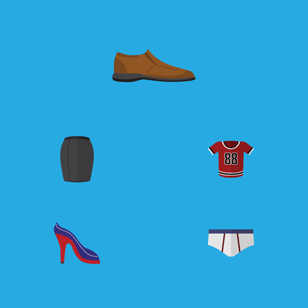 Flat Icon Garment Set Of Heeled Shoe, Underclothes, T-Shirt And Other Vector Objects. Also Includes Briefs, Footware, Shoe Elements.