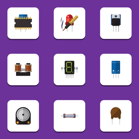 Flat Icon Appliance Set Of Resistor, Hdd, Display And Other Vector Objects. Also Includes Resistance, Resistor, Hdd Elements.