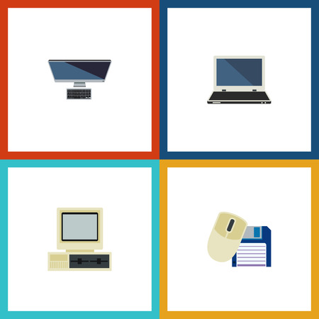 computerized: Flat Icon Laptop Set Of Computer Mouse, PC, Notebook And Other Vector Objects. Also Includes Mouse, Personal, Computer Elements.