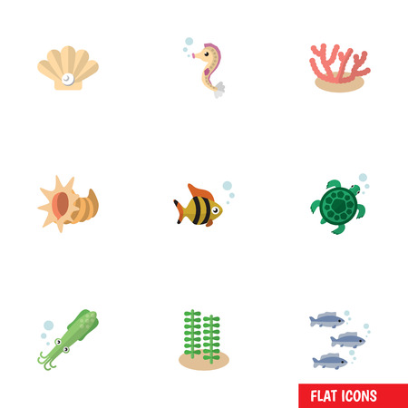 Flat Icon Marine Set Of Conch, Octopus, Seaweed And Other Vector Objects. Also Includes Algae, Alga, Scallop Elements.