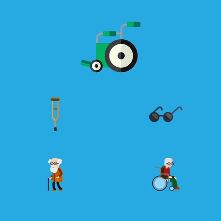 Flat Icon Cripple Set Of Stand, Wheelchair, Equipment Vector Objects. Also Includes Ancestor, Disabled, Old Elements.