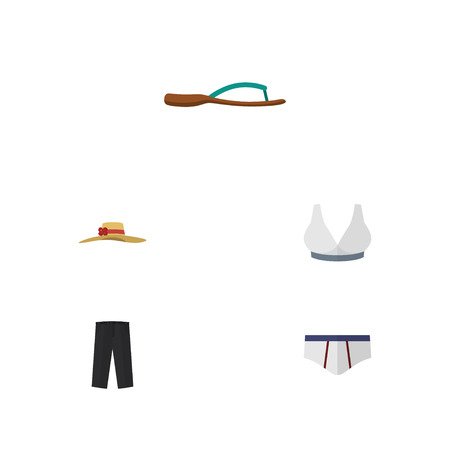 Flat Icon Clothes Set Of Brasserie, Pants, Beach Sandal Vector Objects. Also Includes Hat, Sport, Leggings Elements.
