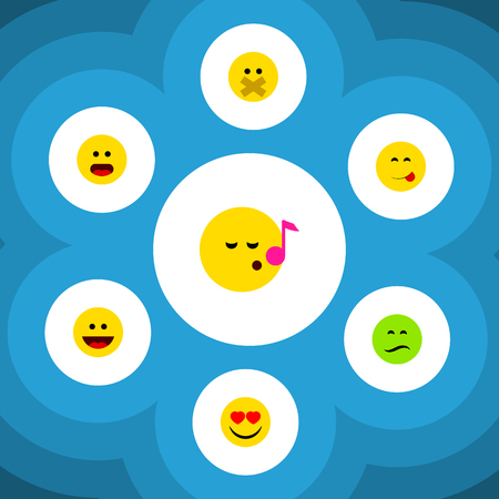 misunderstanding: Flat Icon Expression Set Of Laugh, Wonder, Descant And Other Vector Objects. Also Includes Frown, Sad, Delicious Elements. Illustration