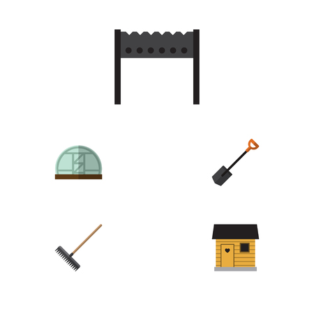 Flat Icon Farm Set Of Barbecue, Stabling, Harrow And Other Vector Objects. Also Includes Brazier, Farm, Farmhouse Elements. Illustration