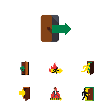 Flat Icon Emergency Set Of Directional, Fire Exit, Entrance And Other Vector Objects. Also Includes Arrow, Directional, Fire Elements.