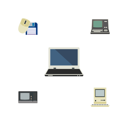 computerized: Flat Icon Computer Set Of Technology, Notebook, Vintage Hardware And Other Vector Objects. Also Includes Floppy, Vintage, Laptop Elements. Illustration