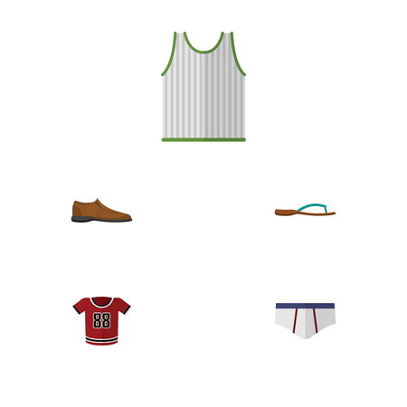 Flat Icon Clothes Set Of Beach Sandal, Singlet, Underclothes Vector Objects. Also Includes Underclothes, Blouse, Man Elements.