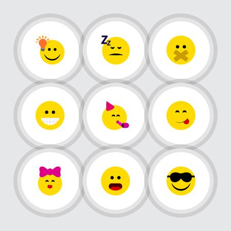 アイコン式セットをフラット笑顔のだろうか、良い意見と他のベクトル オブジェクトを持っています。またキス、顔、パーティー要素が含まれます  イラスト・ベクター素材