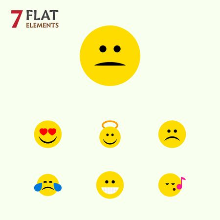 Flat Icon Face Set Of Grin, Descant, Love And Other Vector Objects. Also Includes Heart, Sing, Eyes Elements. Illustration