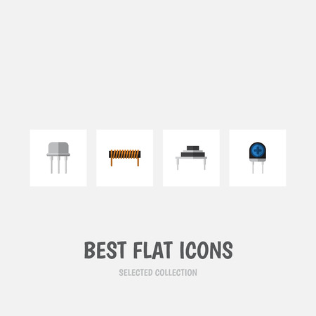 Flat Icon Appliance Set Of Transducer, Destination, Resist And Other Vector Objects. Also Includes Transducer, Copper, Resist Elements.