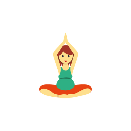 Isolated Meditation Flat Icon. Yoga Vector Element Can Be Used For Pregnant, Woman, Meditation Design Concept.