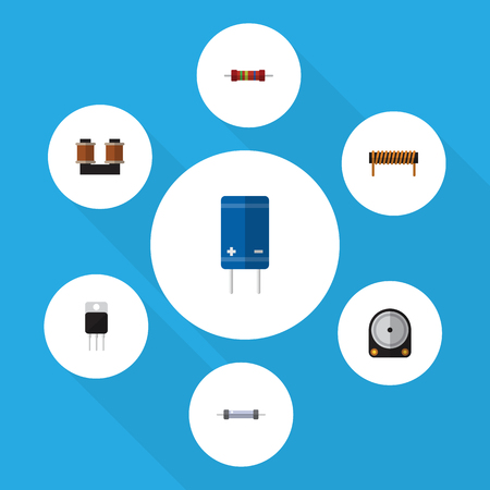 Flat Icon Appliance Set Of Resistance, Hdd, Receiver And Other Vector Objects. Also Includes Set, Electronics, Spool Elements.