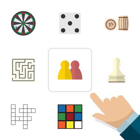 backgammon: Flat Icon Games Set Of Cube, Arrow, People And Other Vector Objects. Also Includes Pawn, Table, Maze Elements.