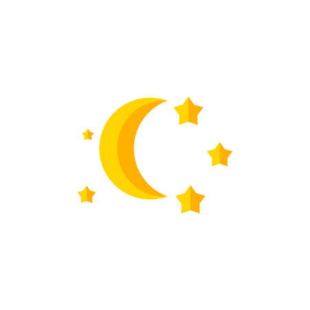 Isolated Twilight Flat Icon. Bedtime Vector Element Can Be Used For Twilight, Moon, Star Design Concept. Illustration