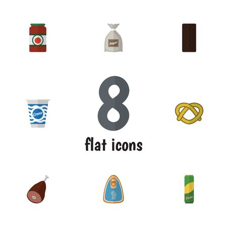 Flat Icon Meal Set Of Meat, Confection, Yogurt And Other Vector Objects. Also Includes Chocolate, Ketchup, Macaroni Elements. Иллюстрация