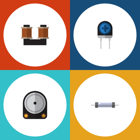 Flat Icon Technology Set Of Transducer, Hdd, Coil Copper And Other Vector Objects. Also Includes Resistance, Drive, Hard Elements. Illustration
