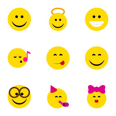 Flat Icon Gesture Set Of Caress, Delicious Food, Descant And Other Vector Objects. Also Includes Grin, Fun, Angel Elements.