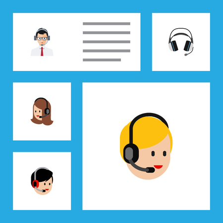 hotline: Flat Icon Telemarketing Set Of Service, Call Center, Help And Other Vector Objects. Also Includes Earphone, Center, Hotline Elements.