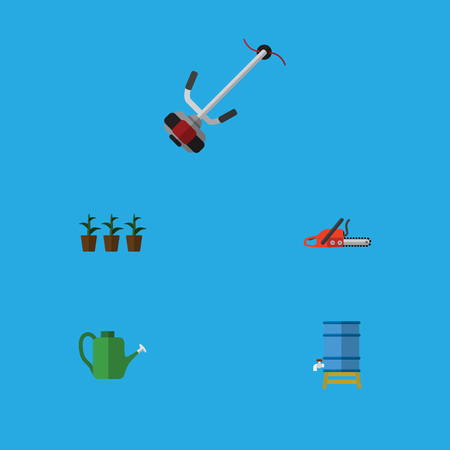 Flat Icon Garden Set Of Container, Flowerpot, Hacksaw And Other Vector Objects. Also Includes Mower, Cutter, Botany Elements.