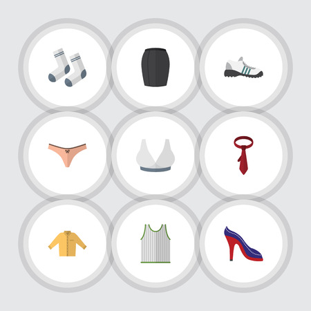 Flat Icon Clothes Set Of Stylish Apparel, Banyan, Brasserie And Other Vector Objects. Also Includes Shoes, Lingerie, Singlet Elements. Çizim