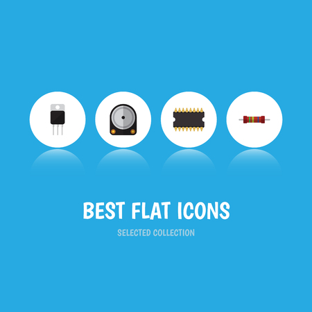 Flat Icon Device Set Of Hdd, Microprocessor, Resistance And Other Vector Objects. Also Includes Receiver, Resistor, Electronics Elements.