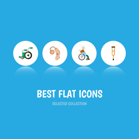 Flat Icon Cripple Set Of Equipment, Audiology, Stand Vector Objects. Also Includes Stand, Aid, Crutch Elements. Illustration
