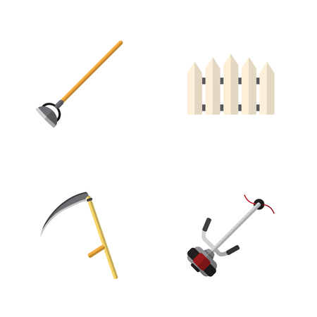 Flat Icon Farm Set Of Wooden Barrier, Cutter, Grass-Cutter And Other Vector Objects. Also Includes Fence, Cutter, Hoe Elements.