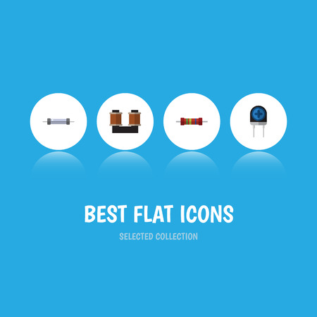 Flat icon device set of transducer, resistance, coil copper and other vector objects Illustration