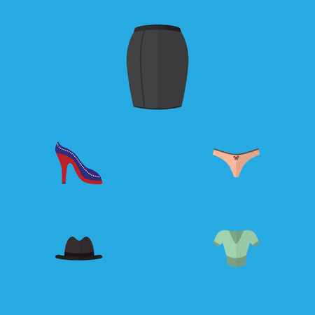 Flat icon dress set of heeled shoe, panama, lingerie and other vector objects