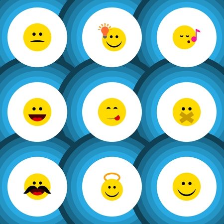 Flat icon expression set of cheerful, joy, hush and other vector objects