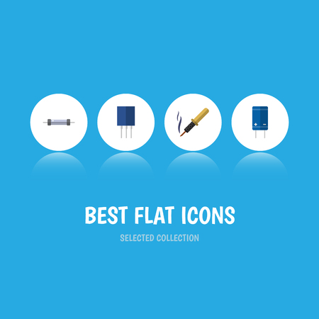 Flat icon technology set of resistor, transistor, receptacle and other vector objects Illustration