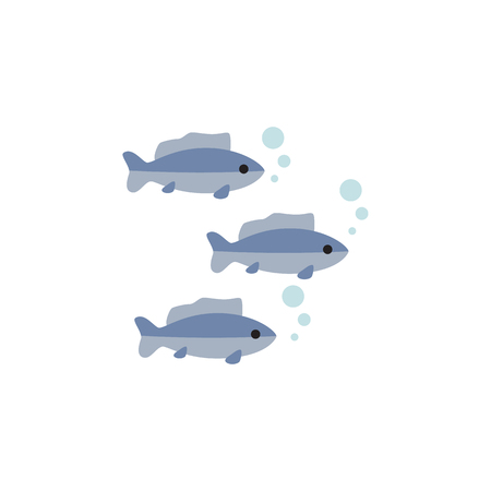 Tuna Vector Element Can Be Used For Tuna, Fish, Seafood Design Concept.  Isolated Fish Flat Icon. Illustration