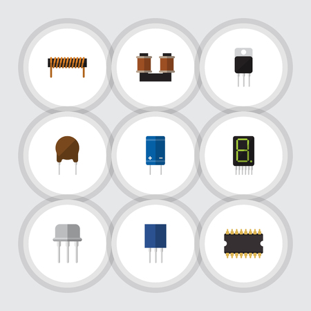 Flat Icon Appliance Set Of Receiver, Resist, Bobbin And Other Vector Objects Illustration