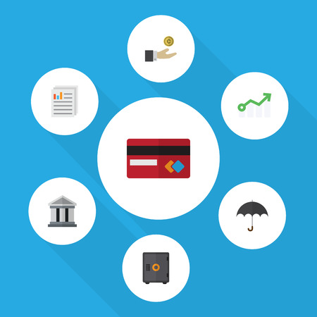 Flat Icon Incoming Set Of Hand With Coin, Growth, Strongbox Vector Objects