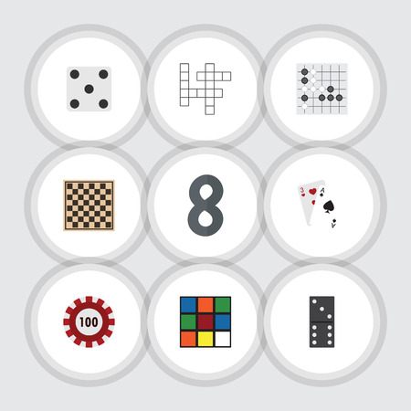 Flat Icon Games Set Of Poker, Gomoku, Backgammon And Other Vector Objects