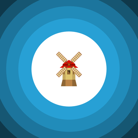 Turbine Vector Element Can Be Used For Windmill, Ecology, Propeller Design Concept.  Isolated Propeller Flat Icon.