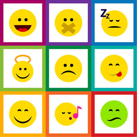 Flat icon face set of angel, laugh, smile and other vector objects Ilustrace