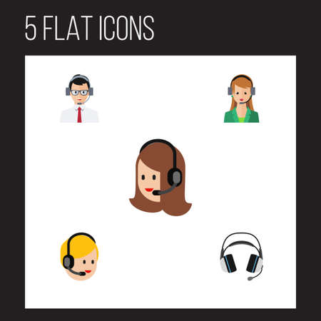 hotline: Flat icon hotline set of help, secretary, call center and other vector objects