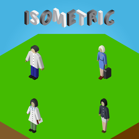 Isometric person set of girl, doctor, male and other vector objects