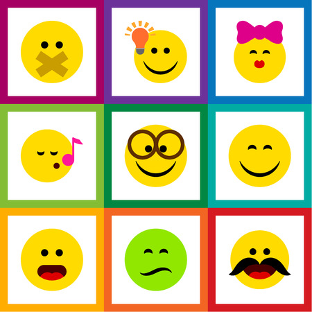 Flat Icon Face Set Of Smile, Cheerful, Caress And Other Vector Objects