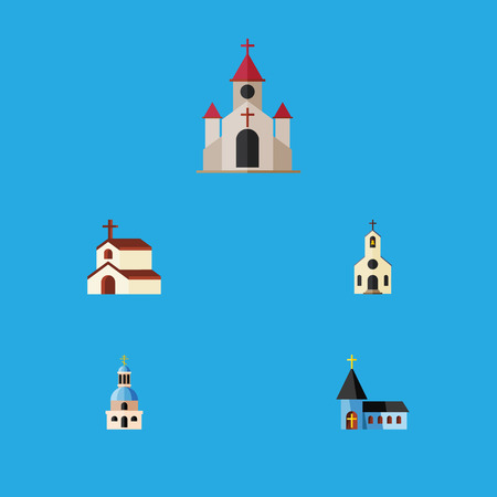 Flat Icon Building Set Of Building, Christian, Religion And Other Vector Objects Illustration