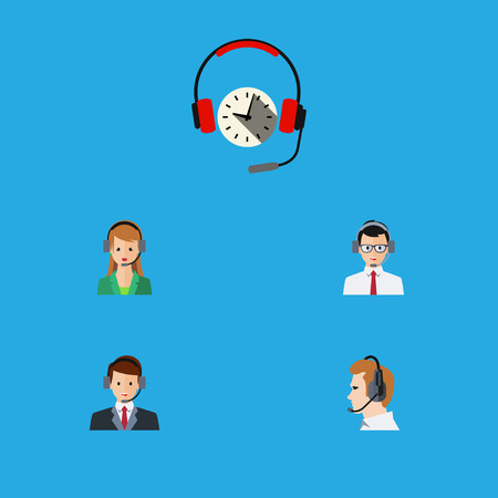 Flat Icon Telemarketing Set Of Hotline, Secretary, Telemarketing And Other Vector Objects
