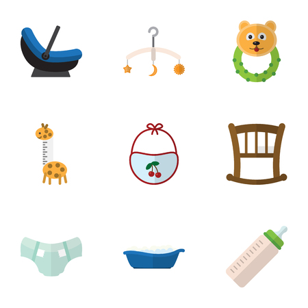 Flat Icon Child Set Of Feeder, Infant Cot, Rattle And Other Vector Objects Illustration