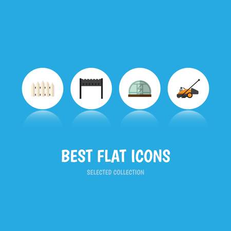 Flat Icon Dacha Set Of Lawn Mower, Wooden Barrier, Barbecue And Other Vector Objects