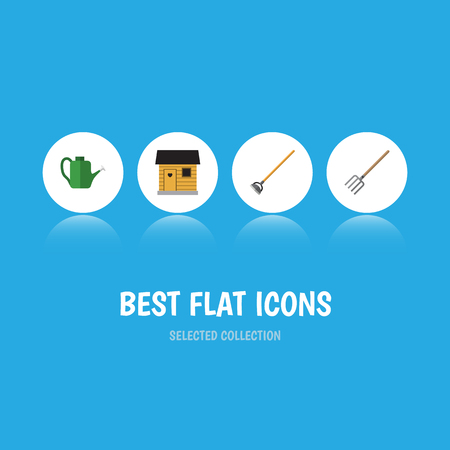 Flat Icon Farm Set Of Stabling, Bailer, Tool And Other Vector Objects Illustration